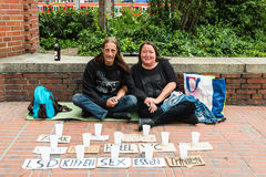 Homeless couple is asking for support royalty free stock image