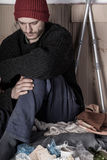 Homeless and depressed man Stock Photos