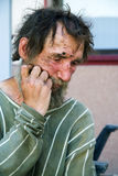 Homeless man in depression Royalty Free Stock Photography