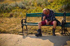 Homeless and drunk man Royalty Free Stock Image