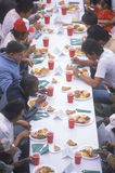 Homeless eating Christmas dinners, Los Angeles, California Stock Images