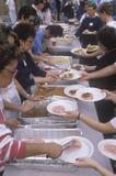 Homeless eating Christmas dinners, Los Angeles, California Stock Image