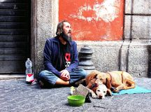 Homeless in Europe Stock Images