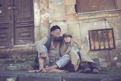Homeless family stock image