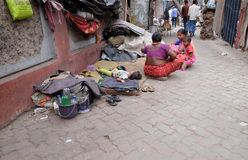 Homeless family living on the streets of Kolkata Royalty Free Stock Photography