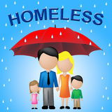 Homeless Family Shows Misfortune Offspring And Poor. Homeless Family Indicating Destitution Household And Abandoned Royalty Free Stock Photo