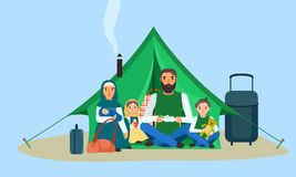 Homeless family in tent concept banner, flat style vector illustration