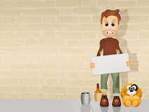Homeless. Funny illustration of homeless and dog Royalty Free Stock Photo