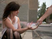 Homeless girl Royalty Free Stock Images