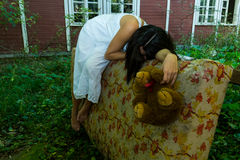 Homeless girl sleeping Royalty Free Stock Images