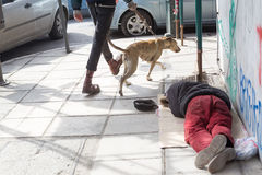Homeless in Greece face continuing financial crisis. THESSALONIKI, GREECE, MARCH 28, 2015: Homeless in Greece face continuing financial crisis. Homeless of stock photo