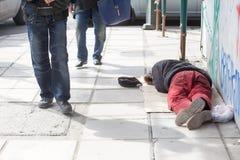 Homeless in Greece face continuing financial crisis. THESSALONIKI, GREECE, MARCH 28,2015: Homeless in Greece face continuing financial crisis. Homeless of royalty free stock photos