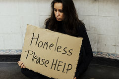 Homeless Hungry Woman Asking for Help Stock Photos