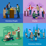 Homeless Icons Set. With people warm themselves around the fire, begging, receiving donations and homeless children and families vector illustration Stock Images