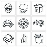 Homeless icons set. Vector Illustration. Royalty Free Stock Images