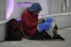 Asian Homeless in Underpass, Seoul, South Korea Stock Images
