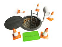 Homeless living in the sewers. On a white background Royalty Free Stock Images