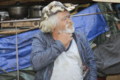 Homeless living on street with all his things Stock Photos