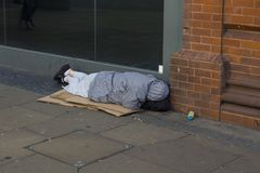 Homeless in London. One of the hundreds homeless in the town of London Royalty Free Stock Photos