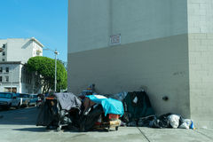 Homeless. Los Angeles, USA - September 28, 2015: Homeless men in skid row of Los Angeles Stock Photos