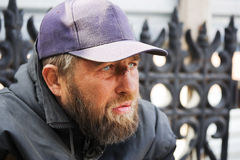 Homeless man in depression Stock Image