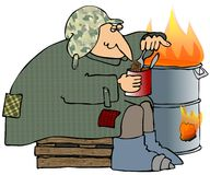 Homeless Man. This illustration depicts a homeless man eating beans out of a can with a fire in a barrel Royalty Free Stock Photos