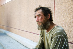 Homeless man. Poor homeless beggar in depression Royalty Free Stock Photos