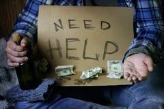 Homeless man ask help Stock Image