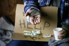 Homeless man ask help Stock Photo