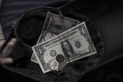 Homeless man asks for money Stock Photo