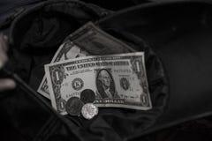 Homeless man asks for money Stock Image