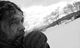 Homeless man b/w portrait Royalty Free Stock Photography