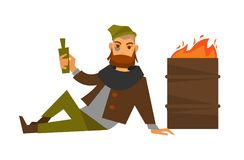 Homeless man beggar or bum vagrant at fire barrel vector isolated icon. Homeless man beggar or bum vagrant alcohol drink addicted in poverty lying on ground at Stock Photography
