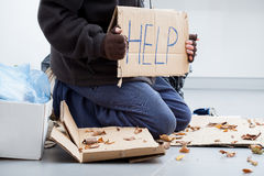 Homeless man begging Stock Images
