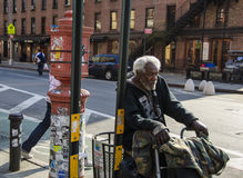 Homeless man. Carrying his possessions in New York Stock Photos