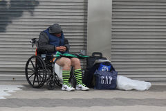 Homeless man at Coney Island section in Brooklyn, New York Royalty Free Stock Photos