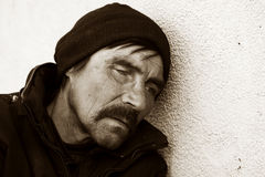 Homeless man in depression Stock Photo
