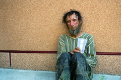 Homeless man in depression Royalty Free Stock Photos