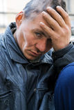 Homeless man in depression Royalty Free Stock Photo