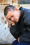 Homeless man in despair royalty free stock photo