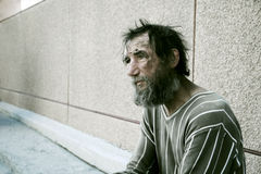 Homeless man in despair Royalty Free Stock Photos