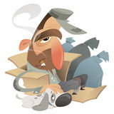 Homeless man with dog in a carton near garbage bags. Cartoon homeless man with his dog friend sitting in a carton near trash bags Stock Images