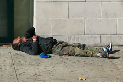 Homeless man in Downtown Brooklyn, New York Royalty Free Stock Photography