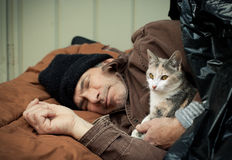 Homeless Man and Friendly Stray Kitten. Closeup portrait of a homeless older man sleeping under a plastic tarp on the street with a friendly stray kitten royalty free stock image