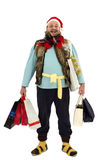 Happy tramp with shopping bags. At Christmas sales Royalty Free Stock Images