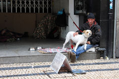 Homeless man with his dog Royalty Free Stock Photography