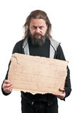 Homeless Man Holding Cardboard Sign Royalty Free Stock Photos