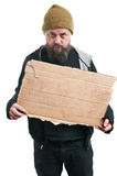 Homeless Man Holding Cardboard Sign Royalty Free Stock Photo