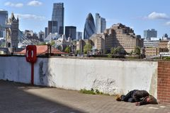 Homeless man London skyline Stock Photos