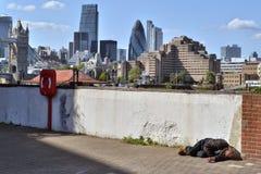 Homeless man London skyline Stock Photos